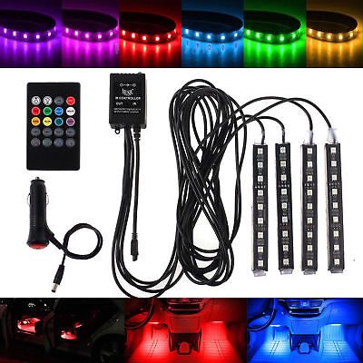 4pcs RGB 7Color LED Neon Strip Light Music Remote Control Car Interior Lighting
