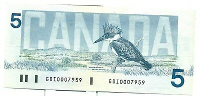 Canada $5 1986 AU GOI0007959 Bonin Thiessen Low Serial Number