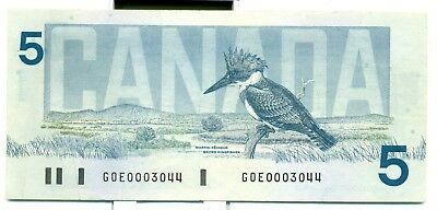 Canada $5 1986 EF/AU GOE0003044 Bonin Thiessen Low Serial Number
