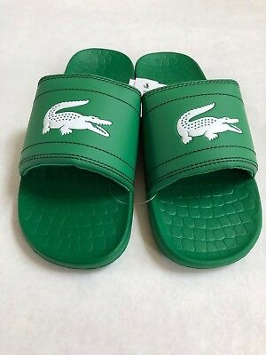 fe3ed07c1938 NWT MEN S LACOSTE Frasier Slides Sandals in Green White Logo Slides ...