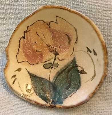 Hand painted PINK ROSE Ceramic Pottery Soap Dish VINTAGE OLD & SIGNED