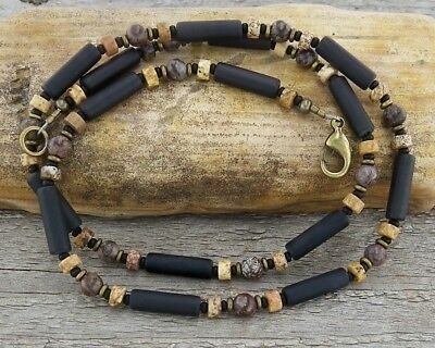 Mens Necklace - Unisex Thin Black Onyx Necklace - Mens Beaded Surfer Necklace