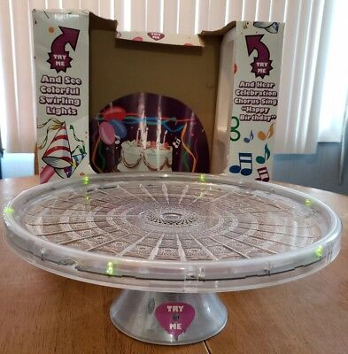 HERBCO Musical Singing Happy Birthday Cake Plate Lights Too W Box EUC