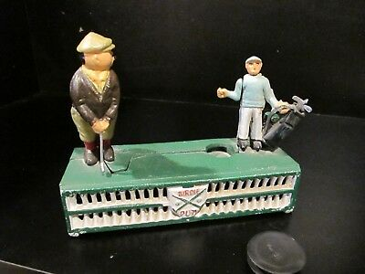 Vintage ORIGINAL Cast Iron Golf Birdie Putt Painted Mechanical Coin Piggy Bank