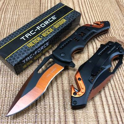 Tac Force Open Assisted EMT Black Electro -Plating Two Tone Blade Rescue Knife