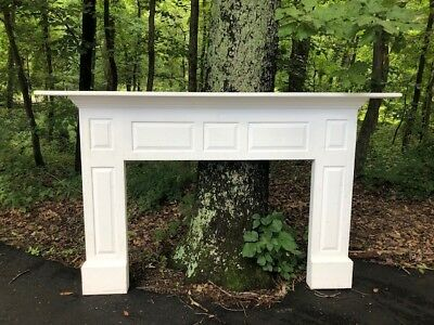White solid wood Fireplace mantel 57X92 and small opening dimensions 38X53