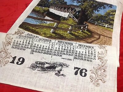 Vintage Linen Calendar Towel 1976 Covered Bridge Scene Kay Dee 17x28