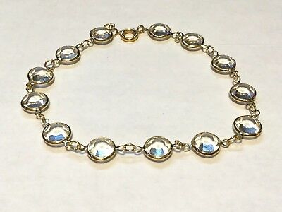 Lovely Clear Crystal Facetted Stones Gold Tone Bracelet (9-M)