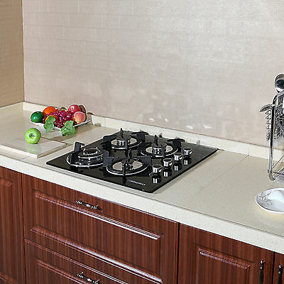 60cm Black Tempered Gass Built-In 4 Burner NG/LPG Gas Cooktop &Cast Iron Trivets