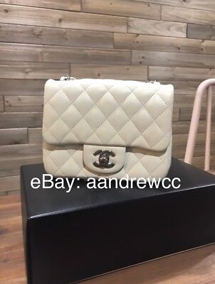 79ffbbdee5ec RARE - Pristine Authentic CHANEL Classic Mini Square Flap Bag Caviar Dark  White