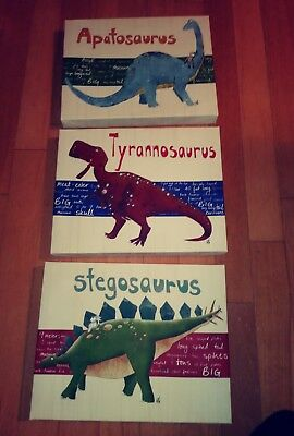 Dinosaur Canvas Wall Art Decor, Kids Bedroom  Nursery Stupell Industries Lot 3