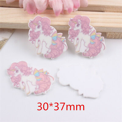 5pcs/lot resin cabochon accessories hotsaled planar resin unicorn with bowFX