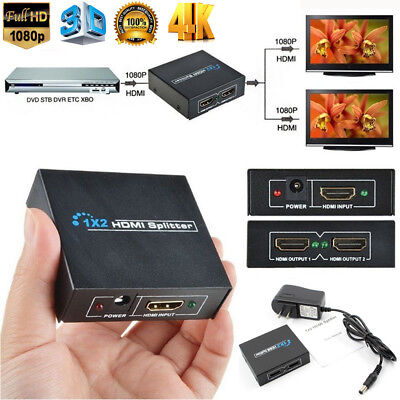 1080p HDMI 1x2 Port Mini Splitter Switch 3D HDTV 1 IN 2 OUT Powered Duplicator