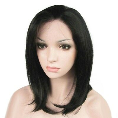 Women Fashion Wigs Black Straight Medium Long Synthetic Hair Wig Party Cosplay