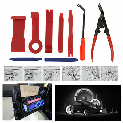 9PCS Car Door Trim Panel Dash Removal Pry Tool Upholstery Tools Clip Plier Kit