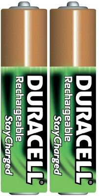 """Bulk pack of 2 Duracell DX2400 AAA 800mAh """"Stay Charged"""" Rechargeable Batteries"""