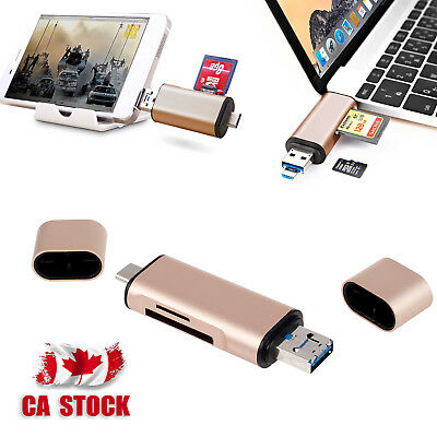 3IN1 Portable Type C/USB-C/Micro TF SD Memory Card Reader Adapter OTG Windows CA