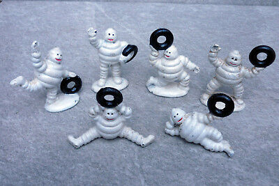 Michelin Man Figures Set Of 6 Cast Iron Retro Vintage Tyre Advertising Bibendum