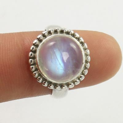 Natural RAINBOW MOONSTONE Round Gemstone 925 Sterling Silver Ring Size US 5.75