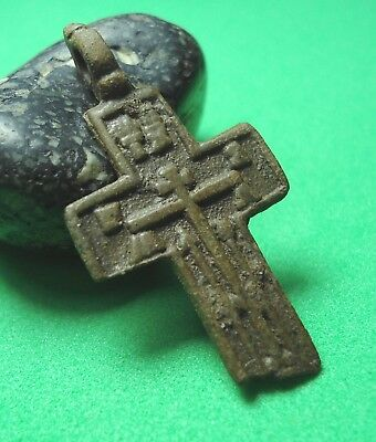 Ancient Bronze Cross Wearable Pendant Antique Rare C5