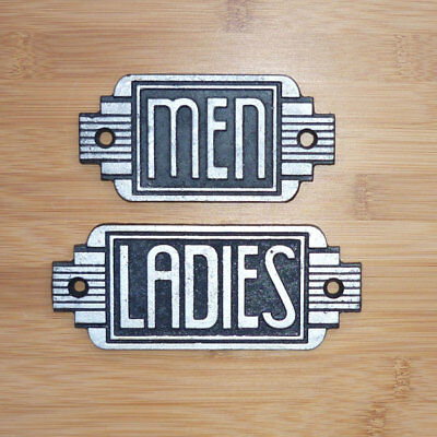 Toilet Door Signs Ladies Men Retro Art Deco Style Antique Effect Cast Iron