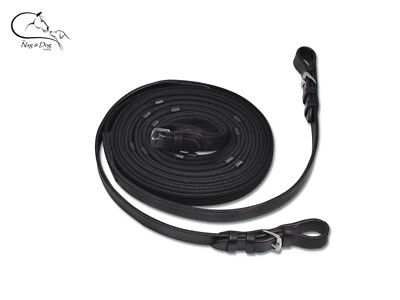 Waldhausen Leather/ Web Double Line Long Reins 3m or 4m  Black  FREE DELIVERY
