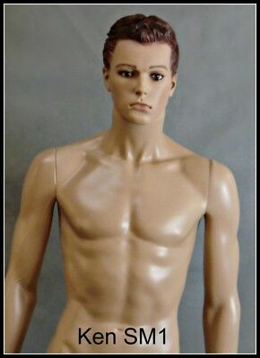 HANDSOME MALE MANNEQUIN with LIGHT SKIN TWO HEADS, ONE WITH HAIR AND ONE BALD