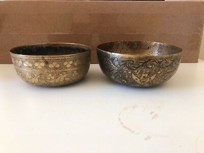 Indian Engraved Metal Repousse Bowls X 2