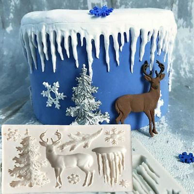 Chocolate Snowflake Fondant Decorating DIY Christmas Tree Silicone Cake Mold