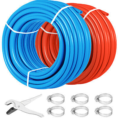 2 Rolls 1/2″300Ft Pex Tubing Pipe Non-Barrier Floor Heat Pipe Pex-B Red Blue