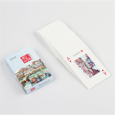 Hand Drawing Xiamen Scenery Classic Standard Poker Playing Cards Tradition Game