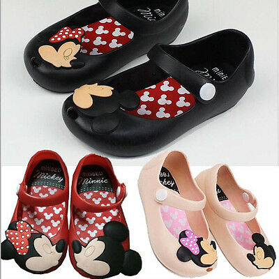 Toddler Kids Girls Sandals Summer Cartoon Cute Mickey Minnie Mouse Jelly Shoes