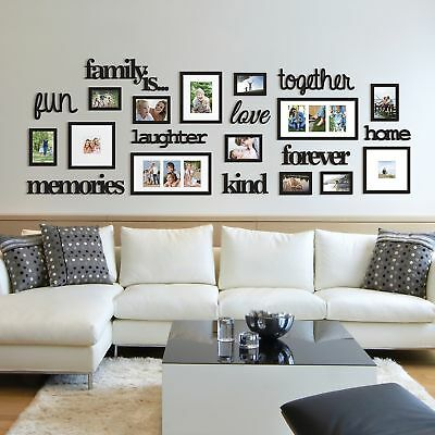 HEART LOVE COLLAGE Photo Picture Frame Set Black Wall Art Decoration ...