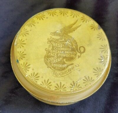 Old Advertising Powder Tin HESS Tint Face Powder Cosmetic Chas Hess Rochester NY