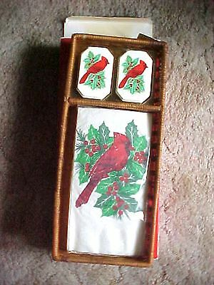 Avon Cardinal Red Bird Set Contains 12 Paper Guest Towels 2 Soap & Wicker Basket
