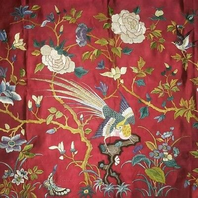 Antique Chinese Silk Rare Embroidery Textile Qing Dynasty Bird Wall hang red stu