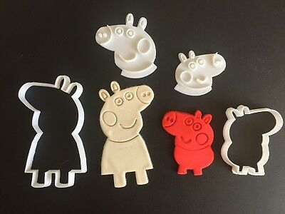 Peppa Pig and George Fondant, cookie cutter with stamp (Set of 2)