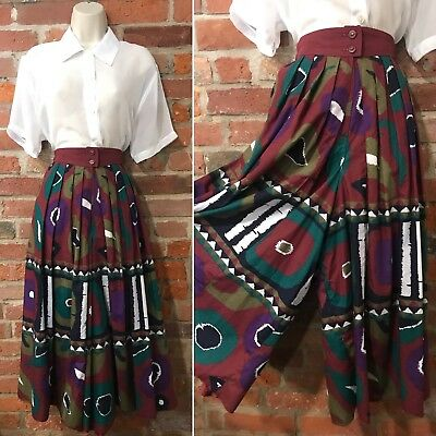 VINTAGE CULOTTES SIZE 14-16 – HIGH WAISTED TROUSERS BURGUNDY AZTEC (st36)