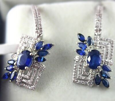 34.4 Ct Natural-Blue-Sapphire-14k Gold-Diamond-Fine-Engagement-Earring-Certified