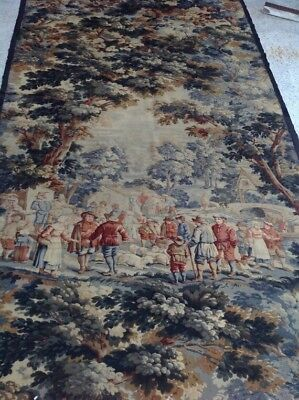 """ANTIQUE  FRENCH HAND PAINTED wall HANGING TAPESTRY Verdue RARE Large 93""""×53"""""""