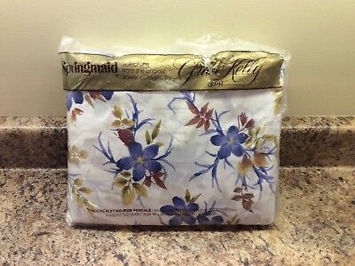 "NOS Vintage Springmaid King Size Fitted Sheet Grace Kelly Floral ""Isabella"""