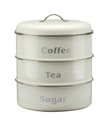 Vintage Stackable Kitchen Storage Set Tea Coffee Sugar Canisters In Cream