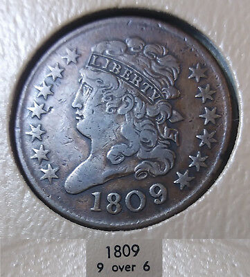 1809/6 Half Cent 9 Over Inverted 9