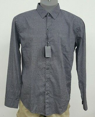faba785a HUGO BOSS Black Label Grey Geometric Sharp Fit L/S Men's Shirt NWT $145 L