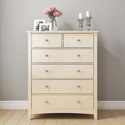 Cream 2+4 Chest of Drawers Solid Wood Tall Storage Bedroom Furniture Ivory White