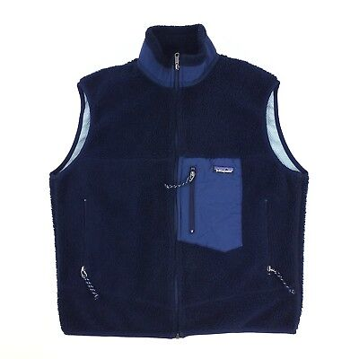 Vtg Patagonia Retro X Fleece Sherpa Vest Made In USA Navy Blue Size Large