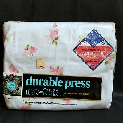 Vintage Durable Press Queen Fitted Sheet White Pink Roses Cotton Poly No Iron