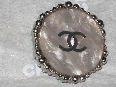 Chanel 1 Cc Logo  Auth  Silver Mother Pearl  Button 20 Mm / Under 1'' New