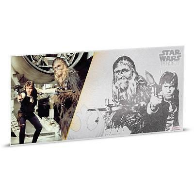 Han Solo & Chewbacca Star Wars New Hope 2018 5G $1 Fine Silver Foil Bank Note