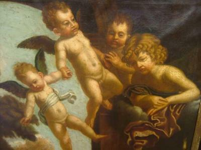 18Th Century Old Master Oil - Italian - Putti - Angels - Superb Period Frame